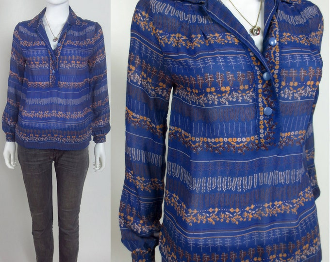 70s Yves Parisian chic striped floral printed tunic blouse