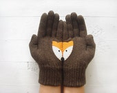 VALENTINE'S GIFT, Fox Gloves, Brown Gloves, Animal Lovers, Special Gift, Valentines Day Gift, Fun Gloves, Unique, Cool Gift, Unisex, For Her