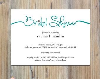 Bridal Shower Invitation, Bridal Shower Invites, DIY Printable 5x7 card w032