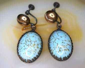 Copper Plated Screw Back Earrings with Robin's Egg Blue Glass Drop