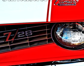 Camaro Z/28 photograph 1969 Chevrolet Z28 focusing on grill emblem Instant download photo red white Chevy muscle pony car automobile art