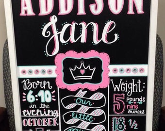 """Hand Painted 17 1/4""""x23"""" Customizable Birth Announcement Wall Art"""