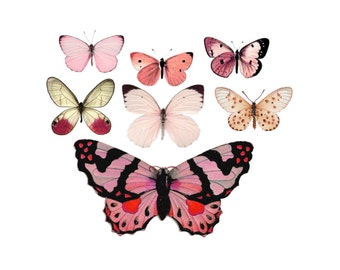 "Vintage Pink Butterfly Temporary Tattoos - ""Flitter & Fly"""