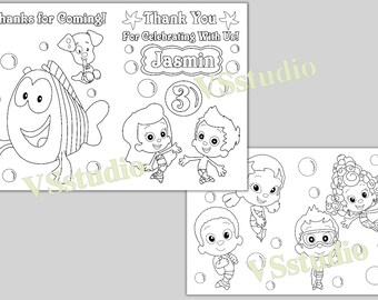 Personalized Bubble Guppies Thank you coloring pages, activity book, PDF  file
