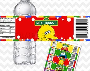 Sesame Street Water Bottle Labels, Sesame Street Party Printable