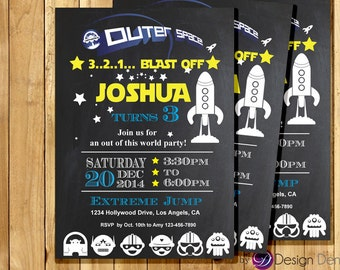Custom Outer Space Birthday Invitations. Chalk Board Cards. Space ship. Ailens. Blast off. #K1023B