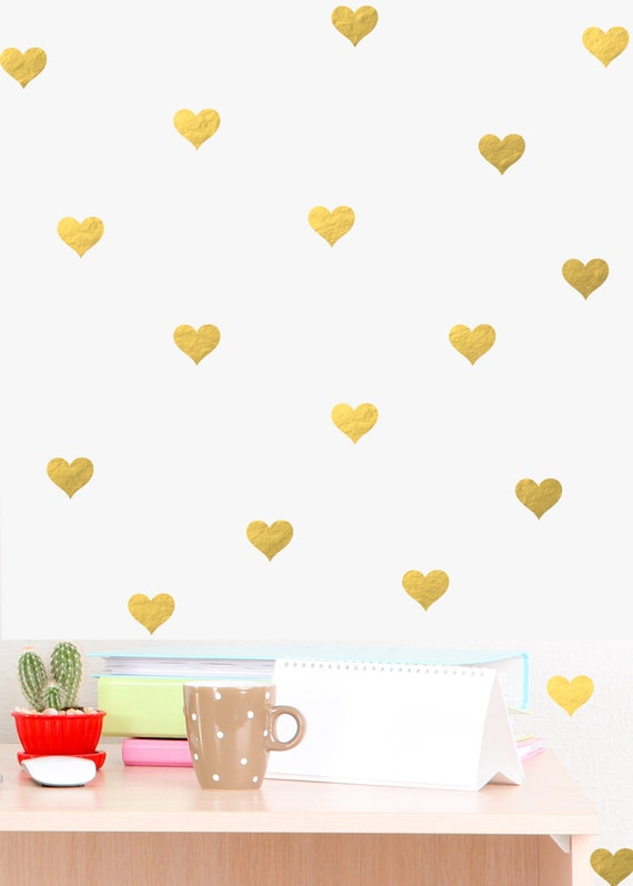 Mini heart wall decal chic home decor bedroom wall decals gold for Cute gold heart wall decals