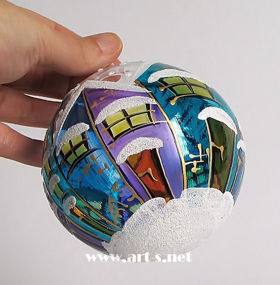 Blue Christmas Ball Ornaments Uk: Items Similar To Hand-painted Blue Christmas Blown- Glass