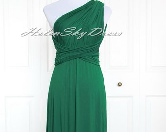 Convertible Dress ,Hunter green Bridesmaid dress Infinity Dress, short Prom dress