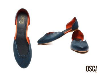 Scarlett Dark Blue - Handmade Women's Designer Shoes Brogue Flat Slip-on Faux Leather ALL SIZES