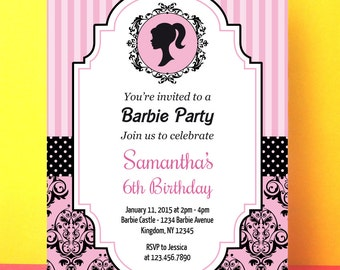 Barbie Invitation, Barbie birthday invite, Instant download, Editable pdf, barbie pink black, barbie party, printable invite digital file