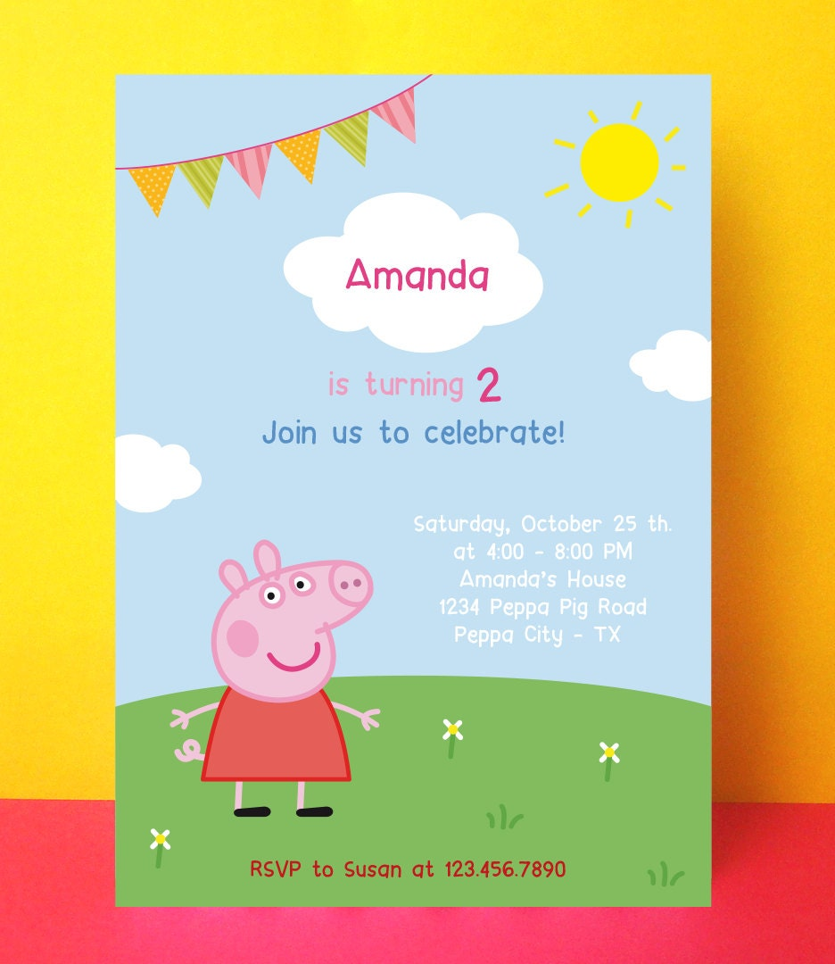 Peppa Pig invitation Peppa pig birthday by PaperPartyDesign