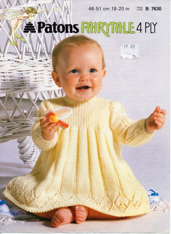 Free Baby Knitting Patterns Only : Baby Knitting Pattern Baby girls baby dress baby girls