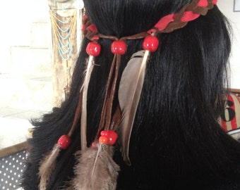 headband Canadaa - braun leather and feathers - ref HB 6