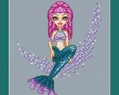 Mermaid With Purple Hair Counted Cross Stitch Pattern in PDF for Instant Download