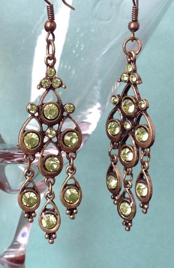 Green Chandelier Earrings Teardrop Earring Bronze Base