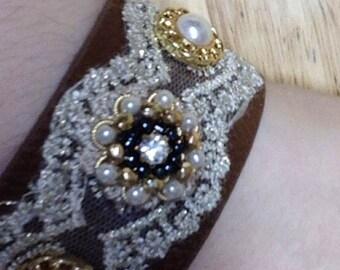 Fancy Leather & lace bracelet