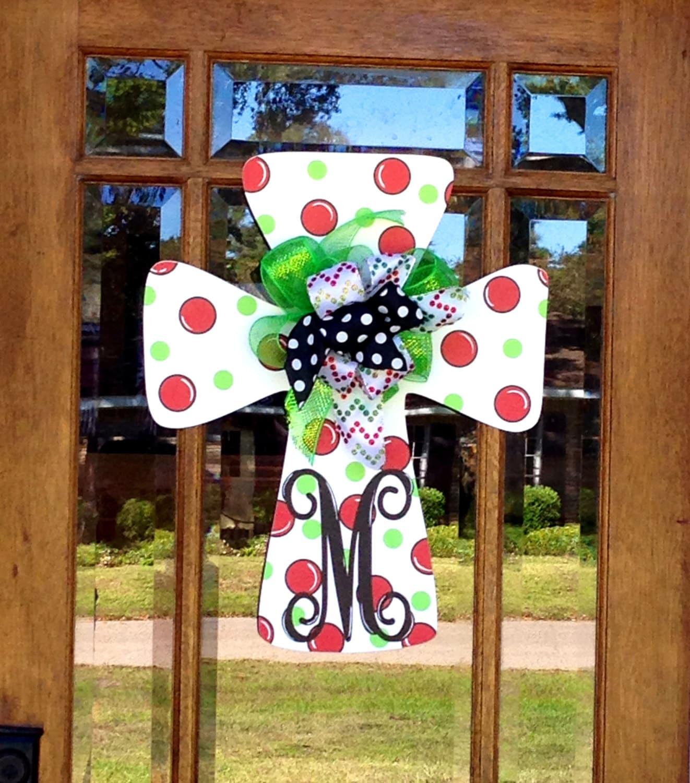 Christmas door hanger initial polka dot cross teacher gift