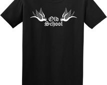 Mens retro tshirt - old school tattoo, mans black t shirt, rock and roll clothing, rockabilly t shirt, psychobilly clothing, rocker tee