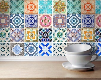 Traditional spanish tiles stickers tiles decals tiles for kitchen backspl - Stickers imitation carrelage ...