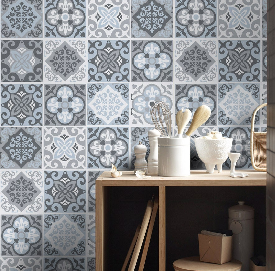 Tile stickers tile decals backsplash tile vintage blue for Carrelage mural cuisine retro