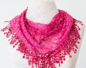 Lace Scarf For Her Fucshia Scarf Lace Fringe Scarf Triangle Scarf Fringe Shawl Lace Headband Fashion Accessory Women Accessory Summer scarf
