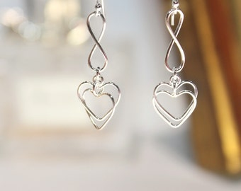 Sterling Silver Heart Earrings | Wire Heart Earrings | Sterling Silver Dangles | Love Earrings | Mother's Day Gift | Bridesmaid Gift