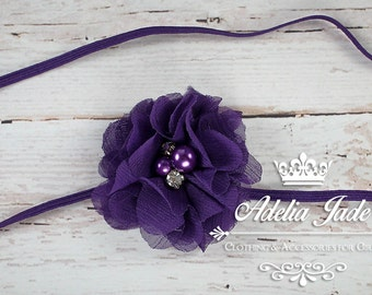Purple Baby Headband, Purple Flower Headband, Purple Baby Headband, Baby Girl Headband, Newborn Headband, Chiffon Flower, Dainty Headband