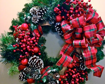 Christmas Red Plaid Wreath