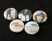 """Neil Young Pinback Buttons - Crazy Horse Rock Harvest 1"""" Pins 70s 60s On the Beach"""