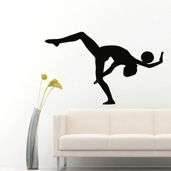 Wall decals girl gymnast with a ball sport by decalmyhappyshop for Gymnastics wall decals