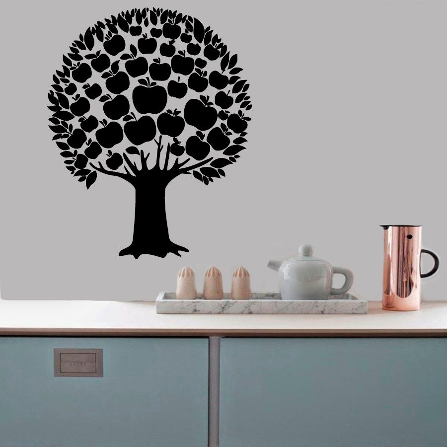 Wall decals apple tree floral design kitchen by for Apple tree mural