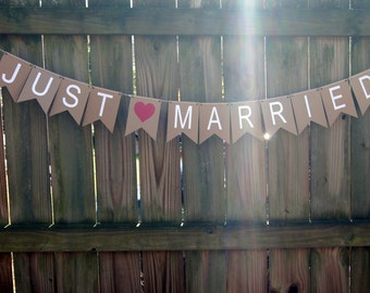 Wedding Just Married Banner - Kraft - Great for Photo Prop or Party Decor