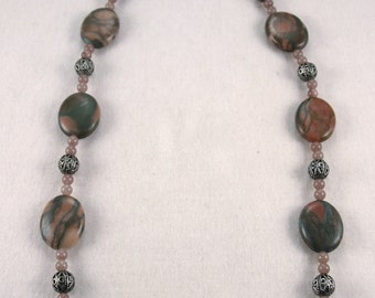 Canyon marble, Pewter and pink/gray Stone Necklace and Earring Set - S005MFL