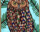 Original ACEO Bird Art, Brown Forest Owl in Pine Tree by Debbie Hart, Fine-Art Marker SFA ATC Drawing on Acrylic Paper Edged in 18 Kt Gold