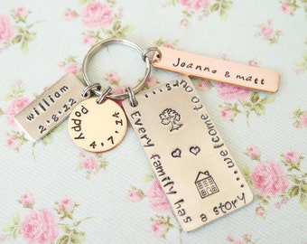 Personalised Mothers Day Gift Idea, Our Family Story Keychain, New Home, Gift Idea for Mum, Personalized Keyring, Childrens Names