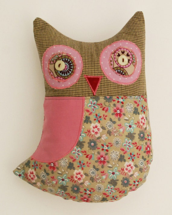 Pink Suffed Owl, Handmade Rag Pink Retro Owl, Textile Fabric Cotton Doll, Soft Forest Animal Doll, FREE SHIPPING, Home Decor