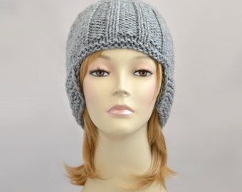 Womens Knit Hat, Beanie for Women, Winter Hat, Knit Beanie Hat, Womens Hat, Gray Hat with Ear Protective