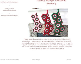 Crochet Stocking Pattern - Granny Hexagon Christmas Stocking Crochet Pattern