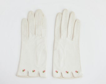 Vintage White Leather Gloves with Embroidered Flowers