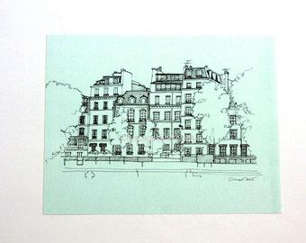 8x10 Paris print-French cityscape-Urban drawing-Paris architecture-French decor- Parisian decor