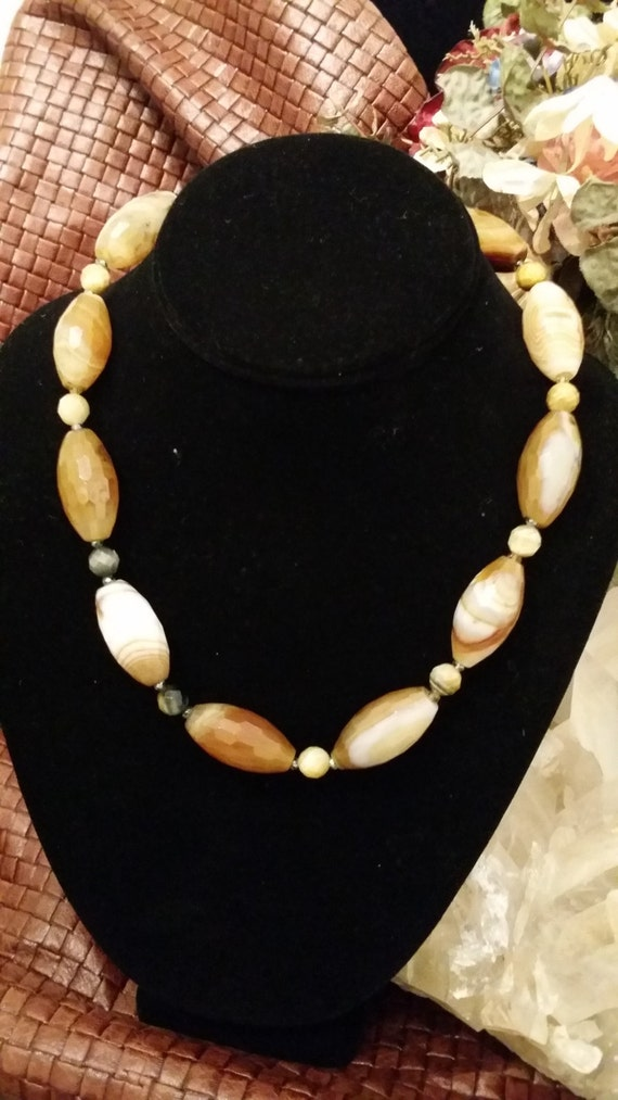 Beautiful Faceted Brown and White Agate and Tiger Eye Necklace