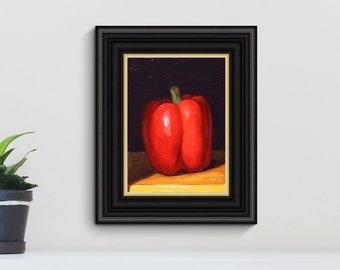 Red Pepper Still Life Painting, original oil painting on board by Aleksey Vaynshteyn