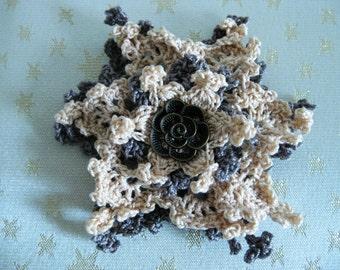 Crochet Flower Corsage, Gray Rose Brooch, bridal flower, fabric flower brooch, crochet corsage, wedding accessories, women accessories