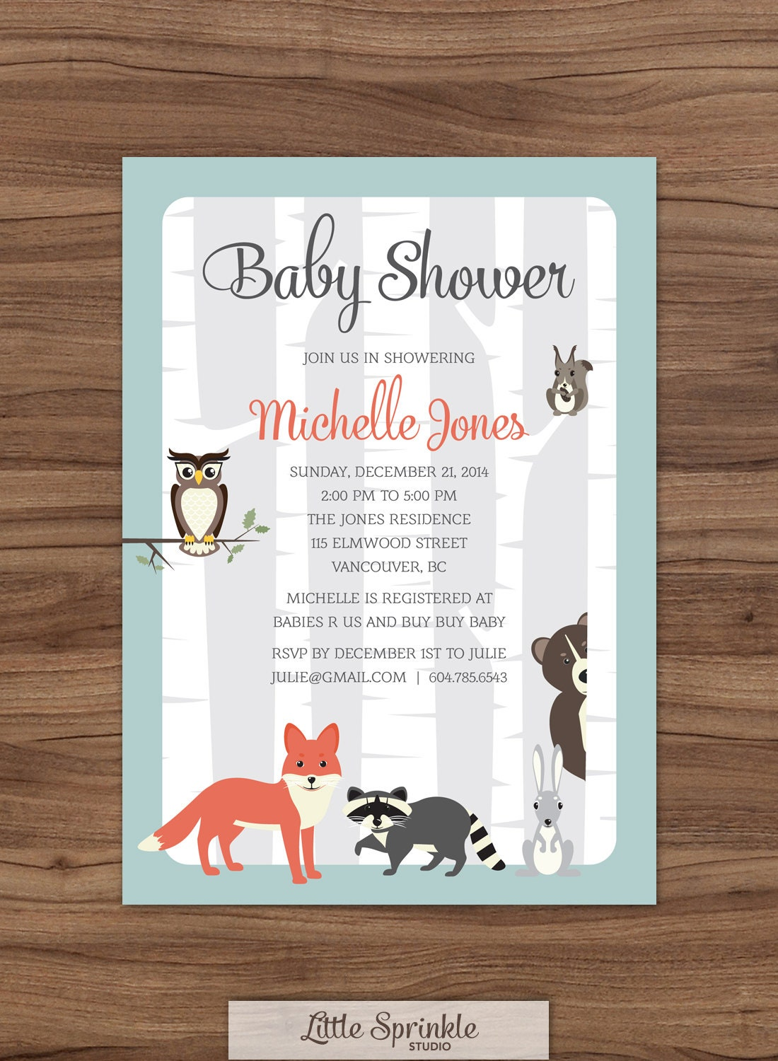 woodland baby shower invitation forest by littlesprinklestudio
