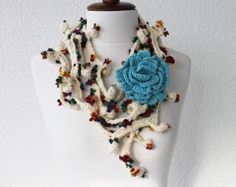 Crochet Lariat Scarf with Removable Brooche