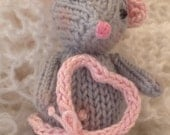Maurice the Breast Cancer Mouse Plush Knit Mice Pink Valentine's Day Gift Engagement Encouragement Birthday