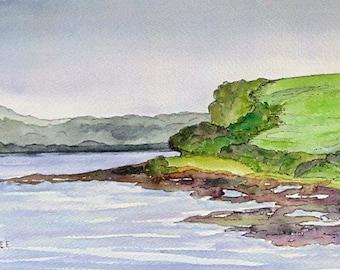 Labdasheeda Quay Right, original watercolor painting, Irish landscape, 9 x 6.25, Shannon River