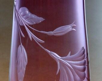 Vase, Lavender Vase, Floral Vase, Hand Engraved Vase, Hand Blown,Vase, Orbix Hot Glass, Glass Vase, Home Decor, Art Glass Vase, Purple Vase