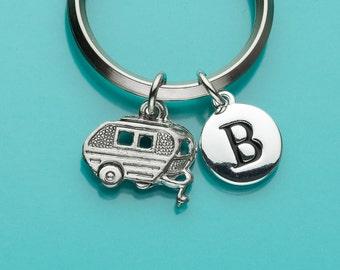 Trailer Keychain, Camper Key Ring, Camper Keychain, Caravan, Initial Keychain, Personalized Keychain, Custom, Charm Keychain, 360